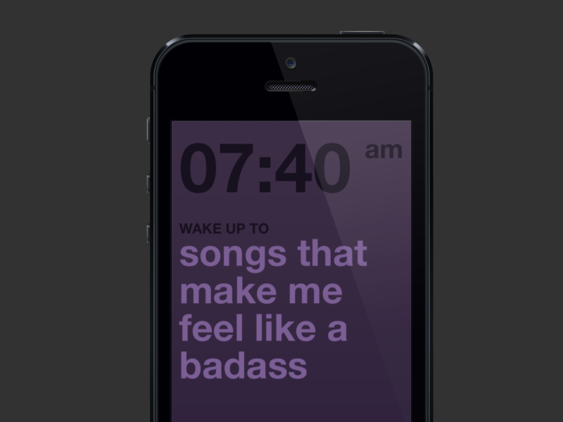 Wake Up, powered by Rdio - Set Alarm & Playlist app icon iphone ui design mobile app