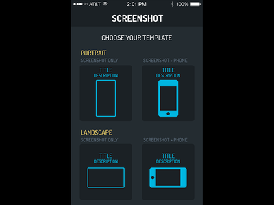 Screenshot app - Choose your template iphone mobile screenshots app store