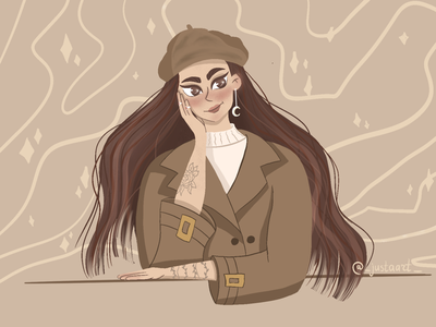 Autumn pastel digitalart art procreateapp illustration brown girl illustration pastel colors