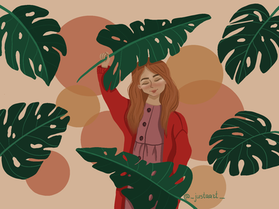 Jungle red leaf jungle girl illustration illustration art procreate digitalart design procreateapp illustration art