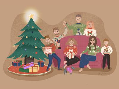 Evening Christmas with family family christmas party christmas illustration christmas ball christmas tree christmas illustration art procreate digitalart design procreateapp illustration art