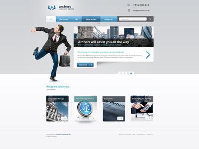 Archers Corporate Services buisness fresh modern layout web design webdesigm corporate services archers