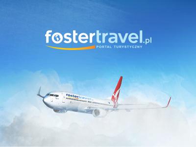 Foster Travel  holiday travel airplane sky blue fresh modern amazing beach logo design layout
