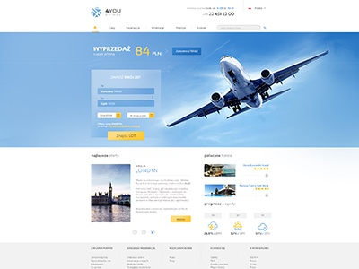 4YOU Airlines airplane layout design web modern fresh blue sky travel you