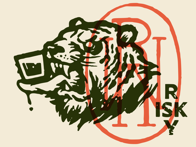 Risky handmade stamp whiskey illustration