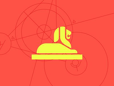 King lion icon logo leo statue