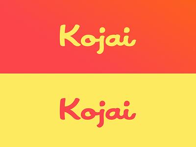 Kojai wordmark lettering script logo ios app map photo chat
