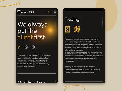 Foscom FZE | Corporate website maritime law trading landing mobile ux minimal website web ui design