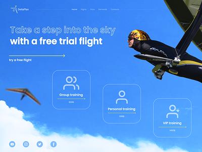 Hang gliding Home page hang gliding ui design flight web design