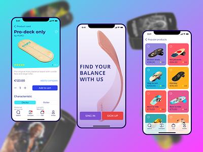 Balance boards Mobile APP blue red modern freelance web uiux app board designer designe creative man woman sport balance bright light mobile