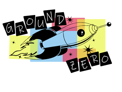 Ground Zero Band Logo Concept old fashioned old school music space spaceship branding logo design illustration