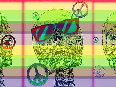 Head Trip creative glasses skull peace vibrant trippy bright colorful color vector