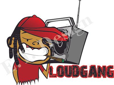 Loud Gang Logo rapper radio rap hiphop bright animated logo vector illustration design creative
