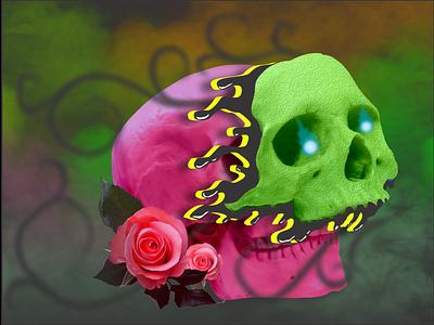Skull Split roses skull color colorful animated vector illustration design creative