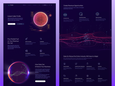 Telecom Website Product Page for Ringba telecom data informative dark technology planet add-on product art futuristic abstract visual orb space cosmic cosmos page website web design zajno