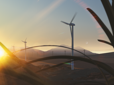 3D Windmills Visuals wind farm future green energy wind energy the power of sound windmill wind turbine wind desert landscape 3d illustration visual c4d cinema4d 3d design 3d illustration zajno