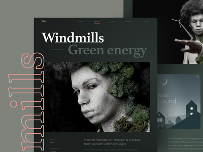 Windmills Case Study photography photo works page web website bold brutal project energy moss green energy wind turbine windmill web design zajno