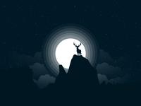 "Vector illustration concept ""Deer"" sky creative minimal wild night dark deer design zajno moon new year nature simple concept clean animal art vector christmas illustration"