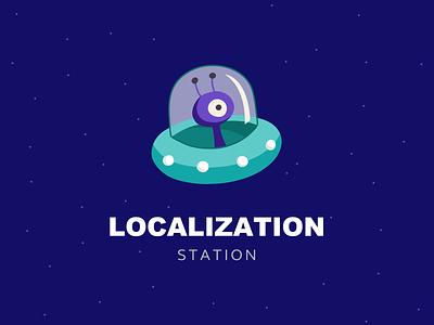 "Logo design Concept ""Localization Station Vol.2"" clean monster modern game logotype icon ufo localization branding logo animation gif"