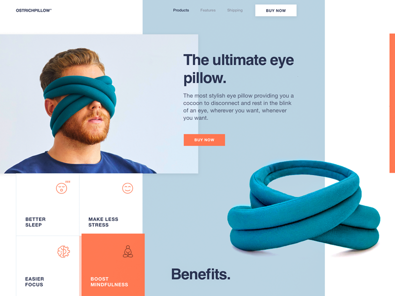 Innovative Eye Pillow Landing Page Design ecommerce ux ui innovation simple neat promo website experimental bright colors geometric minimal modern clean bold design branding unusual layout landing business web product zajno