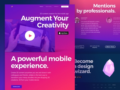 Website Design for 3D Sketching Platform with AR Functionality bright bold colors app branding technology product web design modern responsive website ipad development gradient mobile zajno ux ui big objects vibrant ar 3d