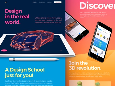 Homepage Design for 3D Sketching Platform with AR Functionality vector creative bright colors web design product business interface modern 3d ar vibrant web ui ux zajno mobile gradient development ipad website