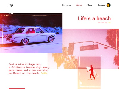 About Page Design for New Website brutal experimental bold bright colors minimal web design clean modern ux zajno ui mood beach spirit storytelling design agency la emotion vibes experiment