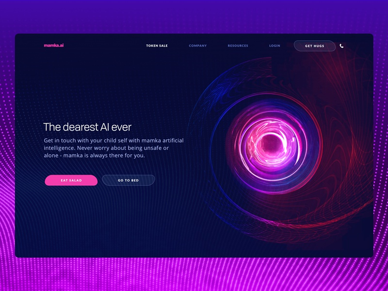 MAMKA - The Dearest Artificial Intelligence Ever landing page visual mom startup ux ui zajno ai social gradient blockchain website