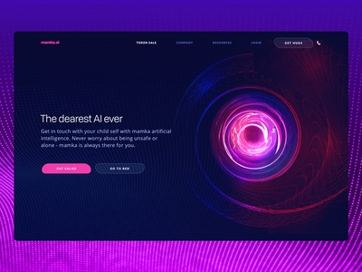 MAMKA - The Dearest Artificial Intelligence Ever 3d art artificial intelligence virtual experimental bold design dark colors clean modern technology landing page visual startup ux ui zajno ai social gradient blockchain website