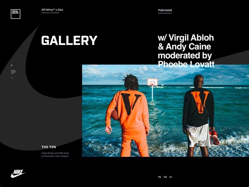 Nike Website Gallery Page Experiment web web design landing business interface design nike virgil abloh website product brand modern white black grid sneakers layout zajno ux ui