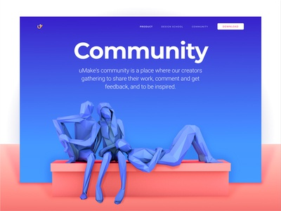 Community Page for a 3D-Sketching Platform Website clean modern tech light colors community experimental website design technology product mobile ipad vr zajno ui ux typography gradient vibrant ar 3d