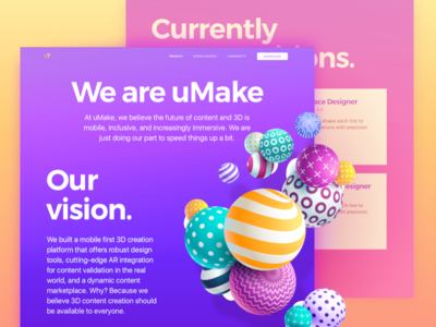 About Page for an iPad 3D-Sketching Platform Website website design modern web creative happy vibes tasty visual bold bright colors product mobile ipad vr zajno ui ux typography gradient vibrant ar 3d