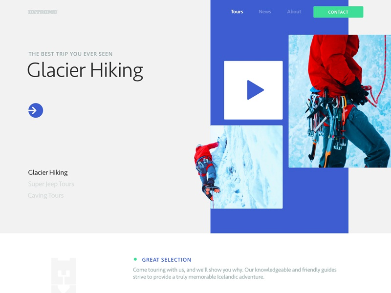 Website for an Extreme Travel Agency bright colors geometic whitespace branding business minimal interface modern extreme sport traveling travel agency web design homepage trip website clean slider zajno ui ux