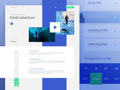 Homepage Design for an Extreme Travel Agency blue composition ux ui traveling travel agency neat content architecture bold layout geometric branding business interface modern web design zajno website trip minimal extreme clean