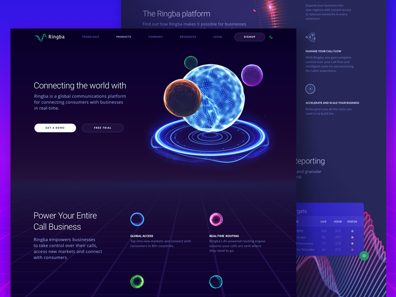 Website for a New Global Telecommunications Platform data visualization call tracking website design dashboard modern cosmos tech technology revolutionary experimental futuristic space innovative dark sphere communication ux ui zajno telecom