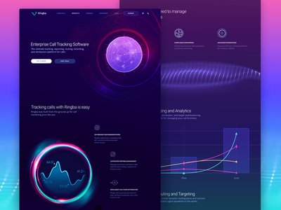 Product Page Design for a New Global Telecommunications Platform abstract design modern layout tech technology cosmos data visualization dashboard call tracking futuristic space satellite innovative dark sphere communication ux ui zajno telecom