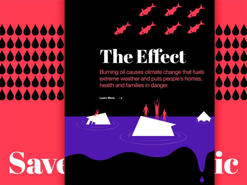 Saving the Arctic: People Over Oil environment art save planet promo site website design illustrative minimal symbol metaphor bright colors bold vibrant illustration visual arctic oil problem solving experiment web zajno ux ui