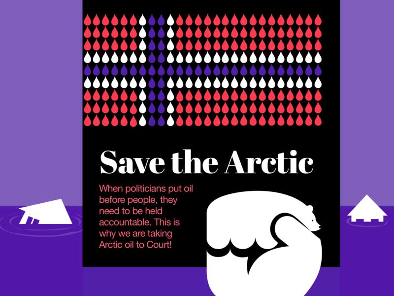 Saving the Arctic: People Over Oil website interface typography web product illustration modern clean symbol metaphor polar bear bold vibrant illustration visual arctic oil problem solving environment experiment zajno ux ui