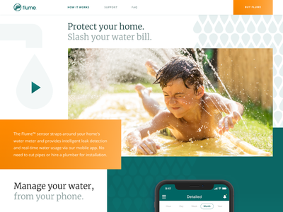 Leak Detection Sensor Promo Website Design for Flume, Inc. bold colors promo website vibrant web landing modern water california ui  ux interface design sensor leak detection fresh clean geometric unconventional layout product zajno business