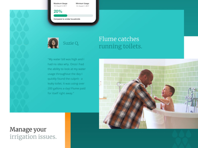 Leak Detection Sensor Promo Website Design for Flume, Inc. bold color promo website product design business zajno unconventional layout geometric clean fresh leak detection sensor design interface ui  ux california water modern landing web vibrant