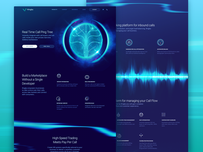New Product Page Design for Global Telecommunications Platform tree celestial body cosmos orb space dark colors abstract promo website companion vibrant futuristic revolutionary technology web design new product ringba ux ui zajno
