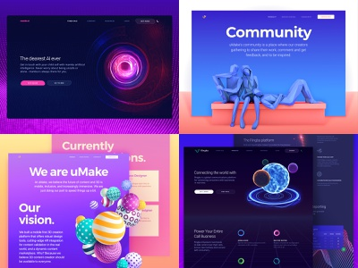 Top 4 of 2018 identity clean art experimental web app branding top 2018 3d 2d dark bright colors abstract promo website vibrant futuristic technology web design ux ui zajno