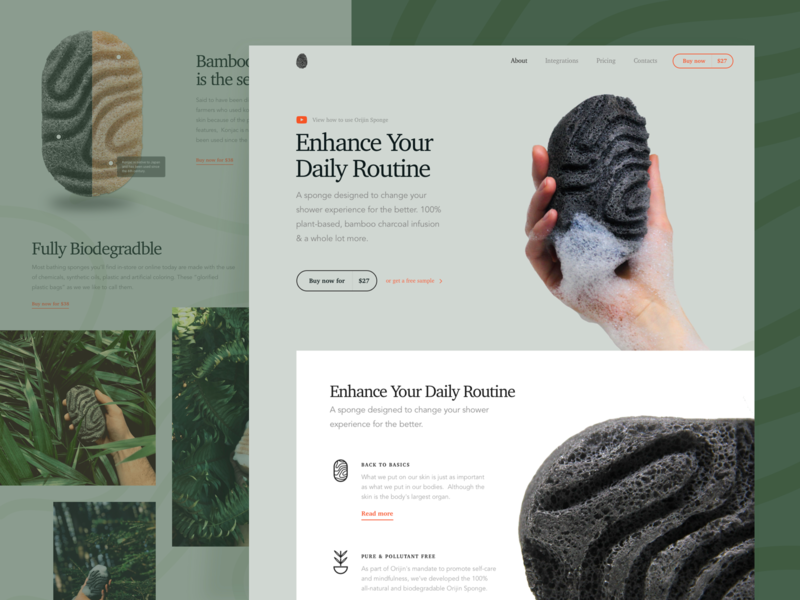 Promo Website for Bamboo Charcoal Sponge whitespace utilization neat composition simple layout pastel colors minimalistic minimalist minimal clean natural promo experience product ui ux data visualization startup experimental experiment website web design zajno