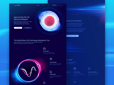 New Product Page Design for Global Telecom Platform experimental celestial body cosmos orb space dark colors abstract promo website companion vibrant futuristic revolutionary technology web design new product ringba ux ui zajno