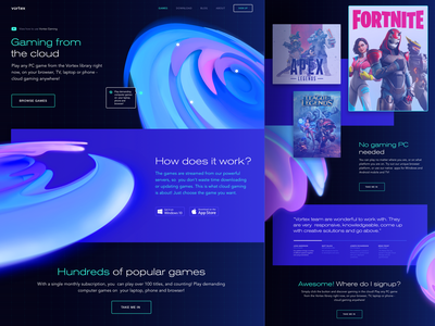 Gaming from the Cloud Redesign Experiment clean game dark vibrant vortex 3d cloud gaming graphics experiment innovative design experiment 3d visual c4d cinema4d cinema 4d web design zajno