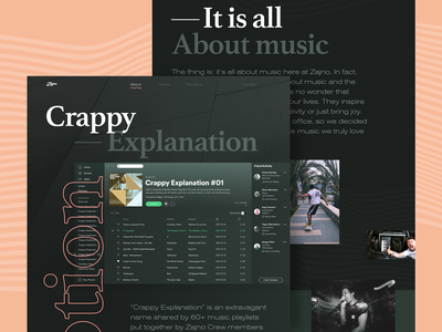 Crappy Explanation Case Study flat bold typography music case study design web website zajno