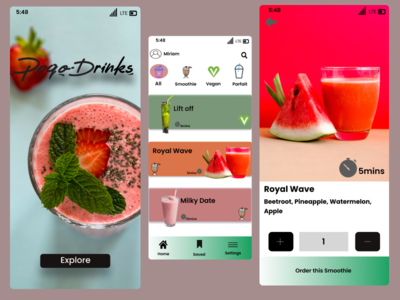 Poqo Drinks smoothies app ux