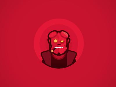 Hellboy hero marvel bat comic avatar red hellboy icon illustration