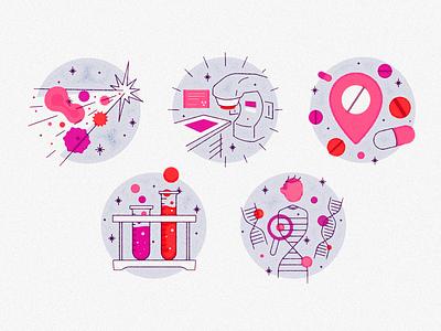 💥🧪🩸🏥📍💊🧬 editorial illustration editorial spot illustration spot magazine philadelphia iconography icon illustration design