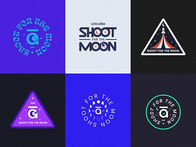 ✨🚀🌙✨ logo rocket stars moon nasa space patch badge branding typography type illustration design
